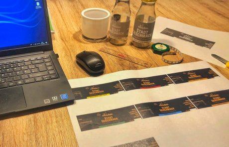 About-StadtGeschmack erste Schritte-Etiketten für unsere Saucen